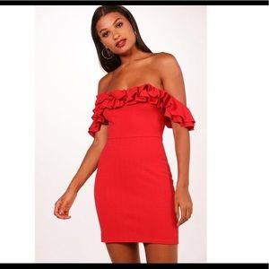 NWT Boohoo Red Off Shoulder Bodycon Dress 6